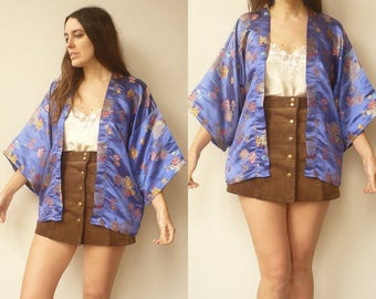 1970's Vintage Electric Blue Chinese Floral Satin Woven Kimono Duster Jacket