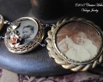 SIBLINGS--Antique Victorian Child Tin Type Photo Button Bell Bird Charm BRACELET