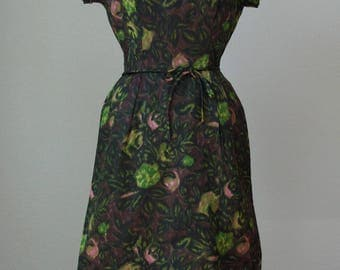1950s-60s Satin Taffeta Dinner Dress with Double Skirt / Dark Mossy Greenery with Pink Buds Print / Nathan Strong / Ladylike and Medium