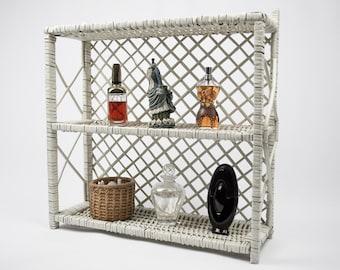 Vintage Wicker Hanging or Standing Display Storage Shelf Bath Decor Nursery Decor