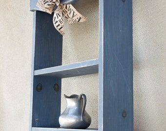 50% Off  Display Shelf Distressed French Blue with Vintage Door Knob Hangers