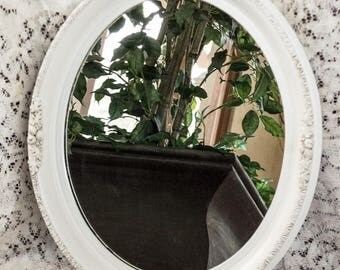 Vintage Oval Wall Mirror Hand Painted and Aged in Oyster White with Rose Trim 18 x 21