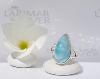 Larimarandsilver ring size 6, Crystal Sky - ice blue Larimar pear, angel blue, azure ring, powder blue, blue topaz, handcrafted Larimar ring