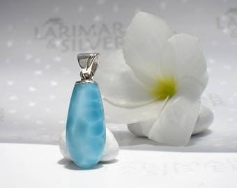 Larimar pendant by Larimaransilver, Clear Water - translucent sea blue Larimar drop turtleback iridescent blue drop pendant Larimar jewelry