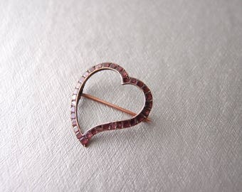 antique Georgian Witches Heart brooch pin Rose Gold table cut flat Garnets Luckenbooth Sentimental Jewelry