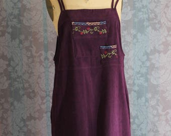 Sz S-M Violet Jumper Mini Dress with Floral Embroidery
