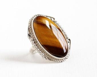Sale - Vintage Sterling Silver Huge Tiger's Eye Ring - Retro 1970s Size 7 Large Brown Oval Gem Statement Southwestern Tribal Boho Jewelry