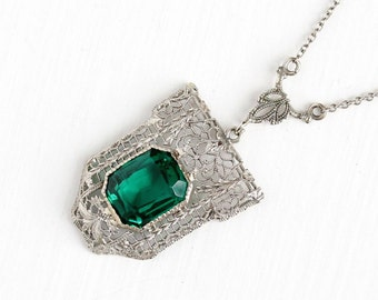 Sale - Antique Art Deco 10k White Gold Simulated Emerald Filigree Lavalier Pendant Necklace - Vintage 1920s Flower Fine Green Glass Jewelry
