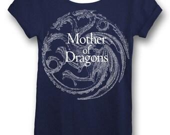 Game of Thrones Mother of Dragons Daenerys Shirt Daenerys Targaryen Khaleesi Womens OffTheShoulder Oversized Slouchy Tee in Navy or Scarlet