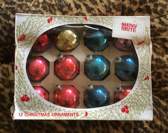 Shiny Brite Ornaments Christmas Glass 12 Aqua Red Gold Purple Faceted Vintage In Box