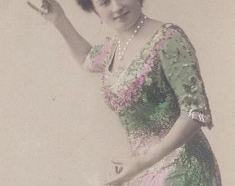 A Suffragette Celebrates 3, Hand-Tinted Vintage Postcard circa 1910s