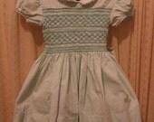 Reserved Vintage Green Smocked Polly Flinders Spring Easter Little Girls Dress