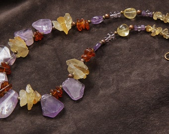 Amethyst Twilight necklace: ametrine slabs, citrine rough nuggets, amber, amethyst, copper, brass
