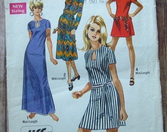Vintage 1970s Easy to Sew Misses Dress in Three Lengths and Sleeve Variations 10 Jiffy Simplicity Pattern 8722 Cut/Complete