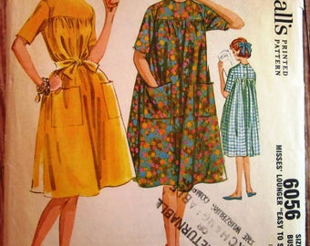 Vintage 1960s Easy to Sew Misses Lounger House Dress Size 14 McCalls Pattern 6056 Cut/Complete