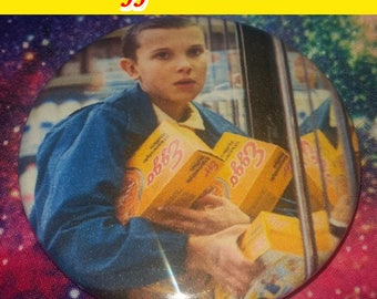 """WAFFLE SCENTED 2.25"""" Pinback Button Stranger Things Eleven Eggo Photo"""