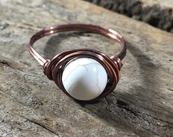 White Howlite stone , antique copper ring - size 9.75 , 9 3/4 - wire wrapped / 8mm gemstone ring / men women ring / rustic bohemian / unisex