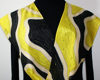 Silk Scarf Hand Painted Yellow Black CANARY DREAM, in 2 SIZES. Birthday Gift, Bridesmaid Gift. Hand Dyed Silk Scarf by Silk Scarves Colorado