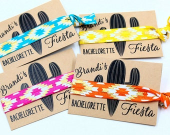 Bachelorette Fiesta, Hair Ties, with metallic gold, Personalized Favors, Bachelorette Party