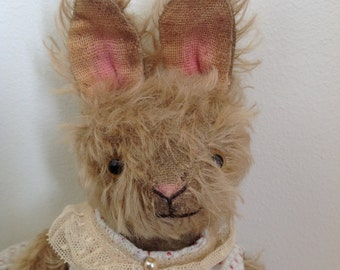 Hampton Bears, Bonnie, antique old style Artist Bunny. Partly jointed  mohair rabbit.
