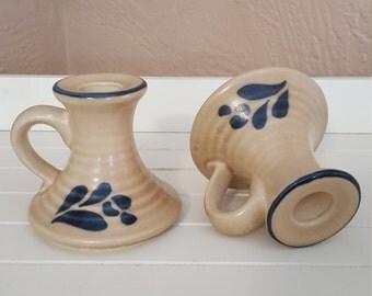 Pfaltzgraff Folk Art Candle Holders - Candlestick -  Made in USA - Oak Hill Vintage