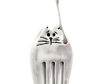 Sterling Silver Cat Jewelry, Fork Cat, Unusual Cat Jewelry, Silverware Jewelry, Robin Wade Jewelry, Luna Is Not Your Average Fork Cat, 2288