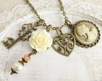 Romantic cameo necklaces, victorian style necklace, ivory flower jewelry, gift for her, rustic charm necklace, vintage inspired