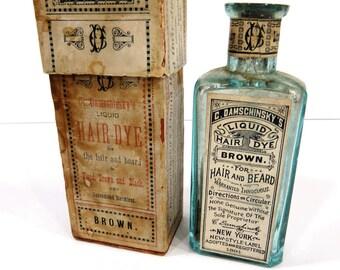 Antique C Damschinsky Liquid Hair Dye Bottle & Original Box, Aqua Blue, RARE 1890s