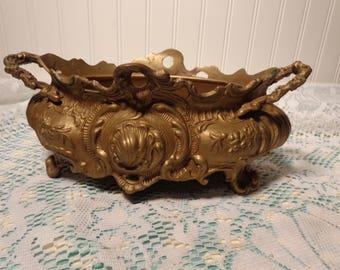 Vintage French Brass Planter - Art Nouveau Jardiniere Brass  -  17-447