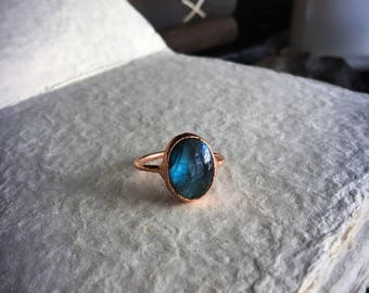Labradorite Ring Size 9.75 | Electroform Copper Ring | Witchy Ring | Midi Ring | Plus Size Ring | Blue Crystal Ring | Large Bold Ring