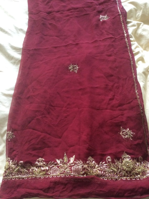 Vintage SILK Shawl/Stole. Regency Style. Wine Red Chiffon, gilt hand embroidery.