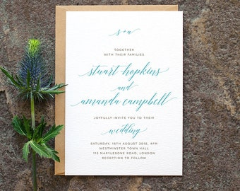 Minimal Classic Wedding Invitation / 'Modern Calligraphy' Elegant Simple Wedding Invite / Duck Egg French Blue / Custom Colours / ONE SAMPLE