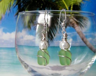 Green tumbled glass white pearl silver wire wrapped earrings, beach earrings