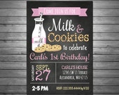 SALE Milk and Cookies Girls Birthday Party Invitation, Printable File, Chalkboard Invitation, Pink, Cookies and Milk