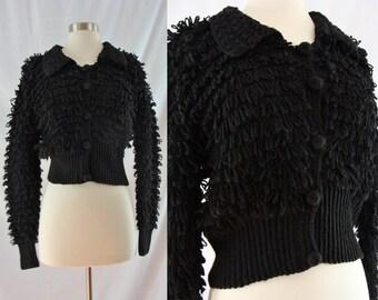 SALE Vintage Seventies Cardigan - 1970s Black Loop Knit Sweater - 70s Cropped Shag Cardigan - Large Shag Sweater