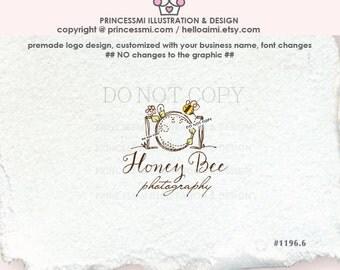 1196-6  Photography logo, camera logo with bee, bee photography logo, Premade Logo Design, honey bee, camera, photography watermark