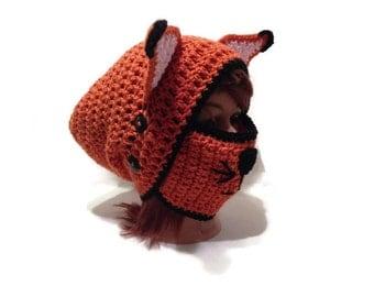 Fox Hat, Fox Mask, Slouchy Fox Hat, Face Mask Hat, Fox Ears Beanie, Fox Cosplay, Fox Mask Hat, Fox Ears, Orange Fox Hat, Fox Costume