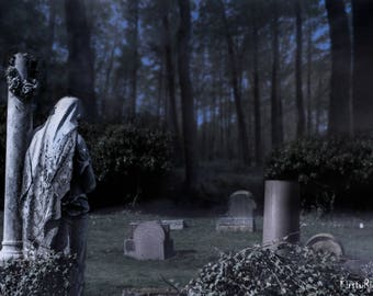 Horror Print - Statue, Eerie, Ghosts, Graves, A3,Horror Scene,Dark Print,Digital Art,Horror Art,Dark Art, Gravestone, Necropolis, 0070