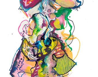 "Original Surreal Watercolor Figure Painting, Abstract Fashion Illustration Art Painting 9"" x 12"" - A19"