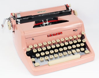 Vintage Pink Typewriter Royal Quiet DeLuxe Manual with Case Fully Serviced Working Typewriter