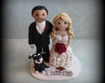 Wedding Cake Topper, Custom Wedding Topper, Bride, Groom, Dog, Grooms Cake, Anniversary Cake Topper, Personalized, Polymer Clay, Keepsake
