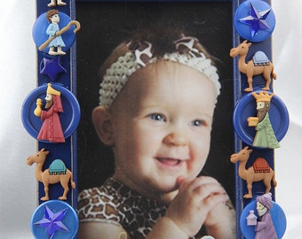 Holy Night Blue Christmas Button Frame Religious Holiday Gift