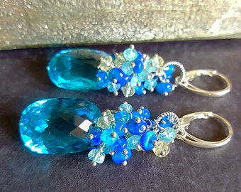 New! Swiss Blue Topaz with Blue Ethiopian Opal, Apatite, Aquamarine Gift For Her