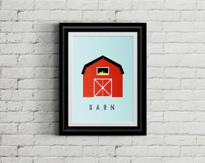 Modern Barn Kid's Bedroom Wall Art - Farm Boys Room Decor - Farming Room Decor - Country Nursery Decor