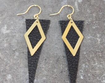 Leather Diamond Earrings, Natural Black Leather, Minimalist Style Earrings, Handmade Leather Earrings, Ready to Ship