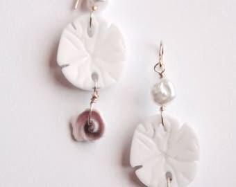 Sandollar Pearl Earrings, Summer Beach Earrings, Handmade Wire Wrapped Earrings,  Ready to Ship