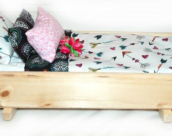 Rock Her to Sleep!  Single Doll Bed - Sweet Heart American Made Girl Doll Bed - Fits AG Doll and 18 inch doll BittyBaby 18' Doll Furniture