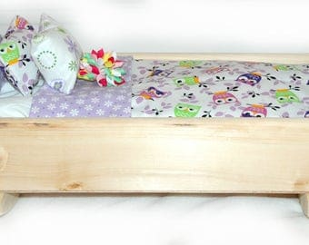 Rock Her to Sleep!  Single Doll Bed - Whooo's There? American Made Girl Doll Bed - Fits AG Doll and 18inch doll BittyBaby 18' Doll Furniture