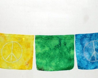 Rainbow Peace Sign Banner Silks ~ Hand Dyed & Hand Painted ~ Waldorf Inspired!