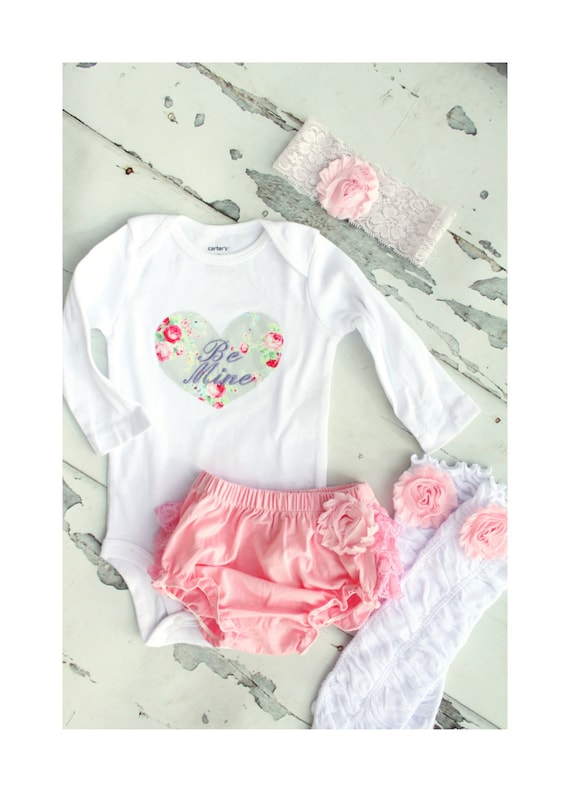 Valentine's Day Outfit Baby Girl Be Mine Heart T-Shirt, Ruffle Leg Warmers Outfit.  Little Sister Big Sister Matching Coming Home Outfit